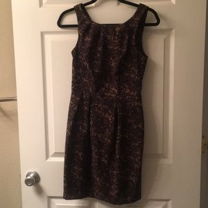 Black/Tan Printed Lace Pattern Formal Dress